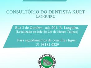Mudança de endereço do consultório do Dentista Kurt