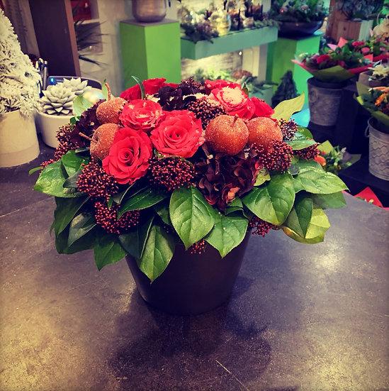 Leuk bloemstuk met roze rozen...