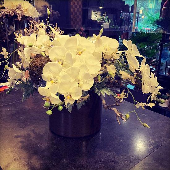 Groot zijdestuk met orchideeën...