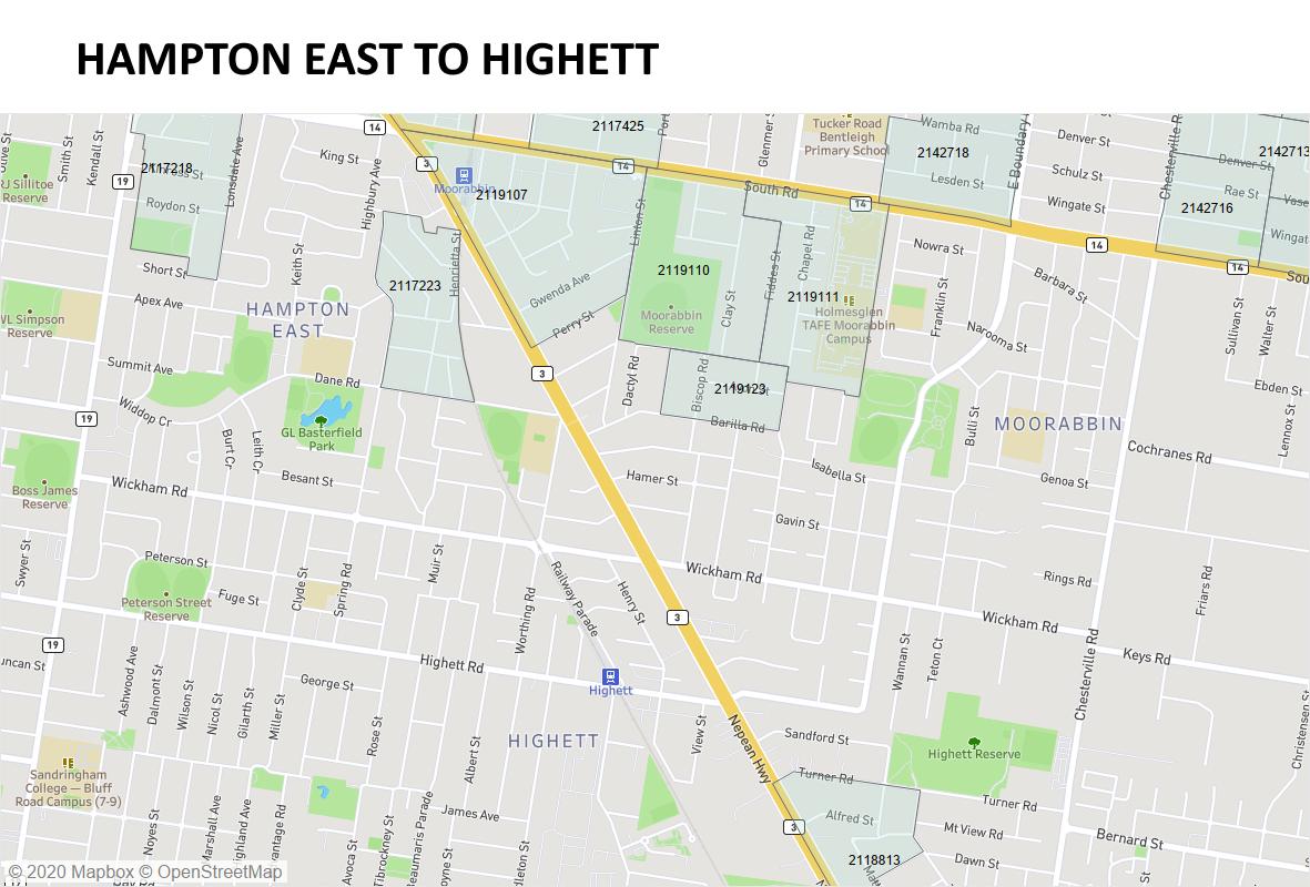 Hampton East to Highett