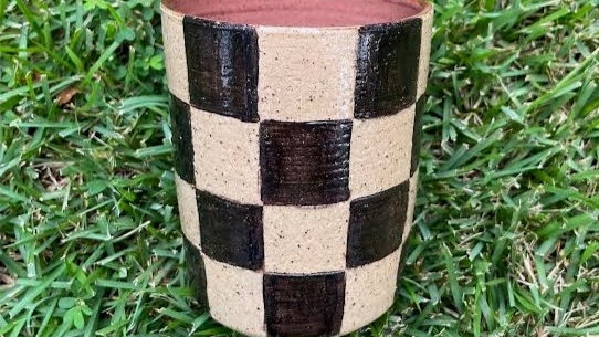 Checkered Tumbler - Plum