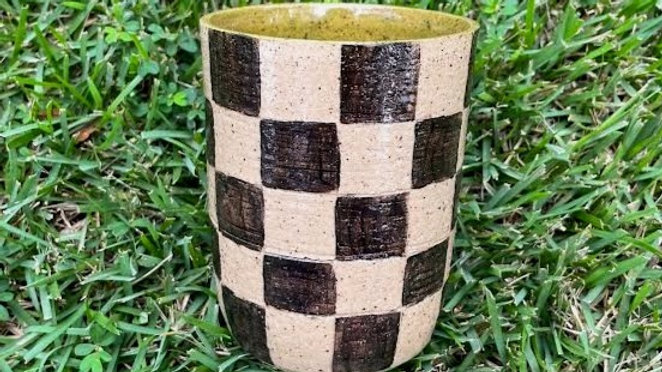 Checkered Tumbler - Olive