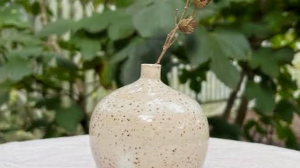 Mini Round Bud Vase - White