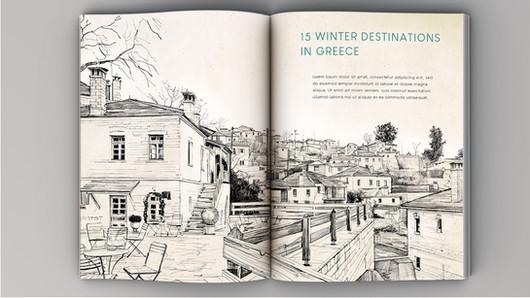 """""""Pindus villages"""" en double page de magazine"""