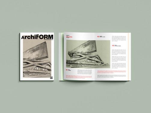 """""""La Philarmonie"""" en couverture et double page de revue d'archi"""