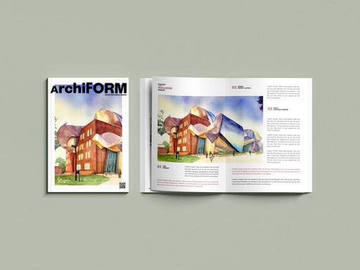 """""""Peter B. Lewis Building"""" en couverture et double page de revue d'archi"""