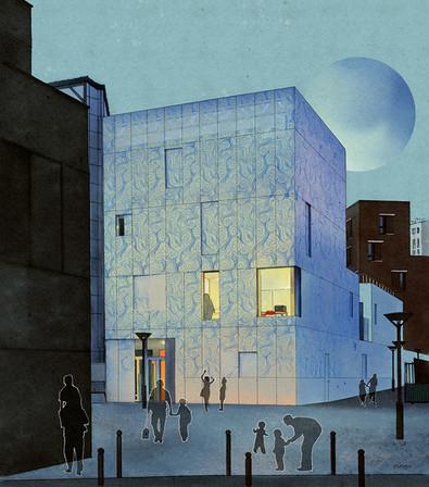 La Maison Bleue vue de nuit