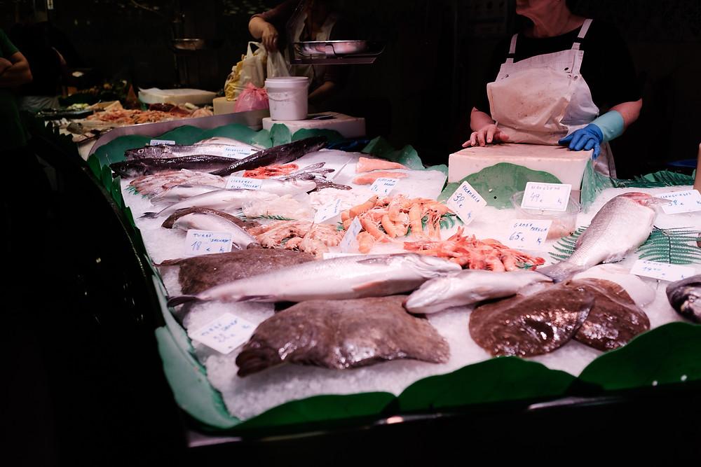 fish for sale, La Boqueria