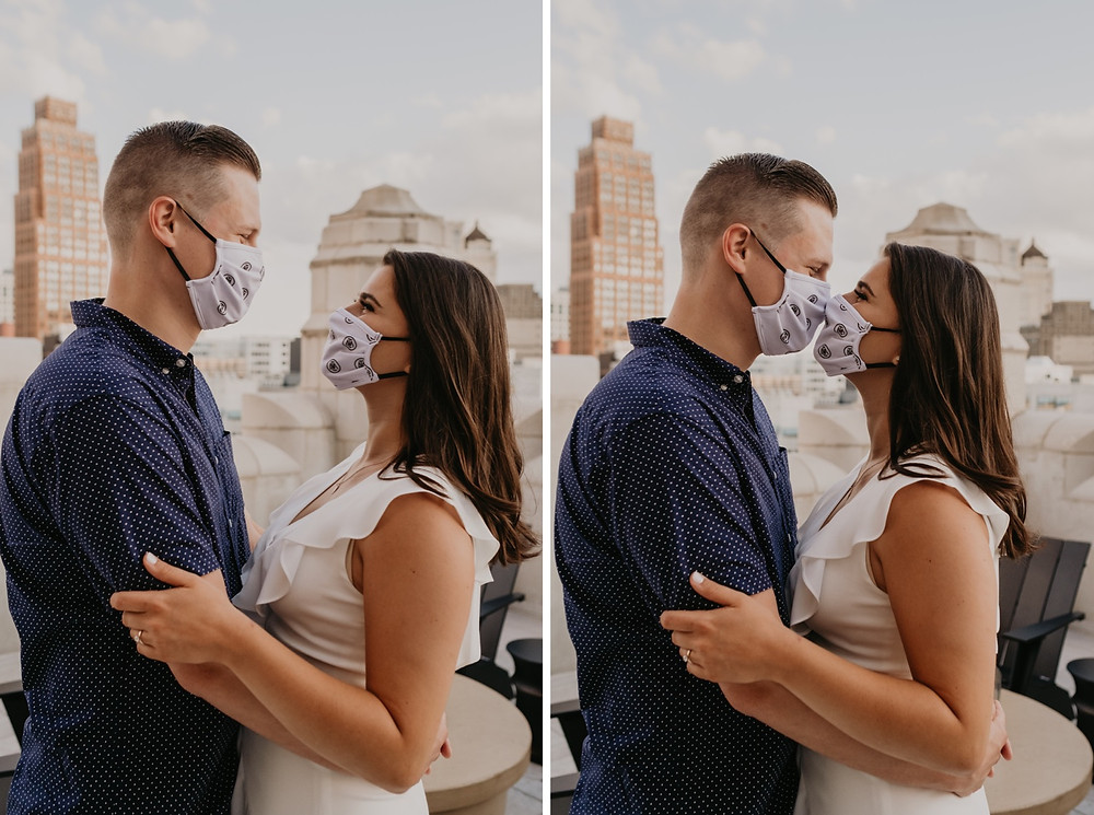 Couple wearing masks during engagement session in Detroit. Photographed by Nicole Leanne Photography.