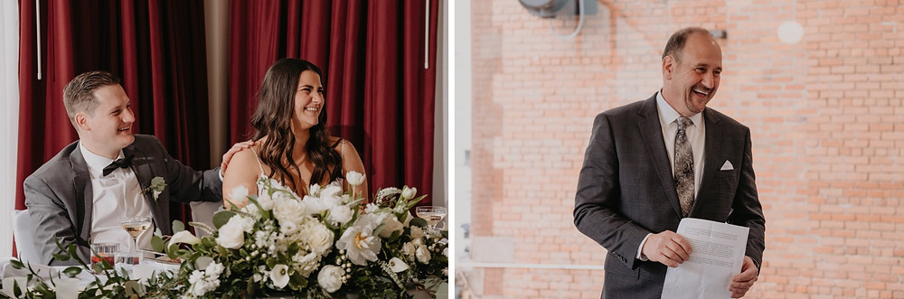 Speeches to bride and groom on wedding day. Photographed by Nicole Leanne Photography.