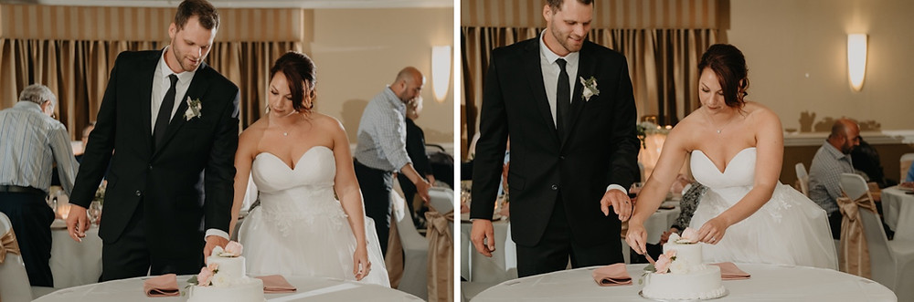 Bride and groom cutting wedding cake. Photographed by Nicole Leanne Photography.