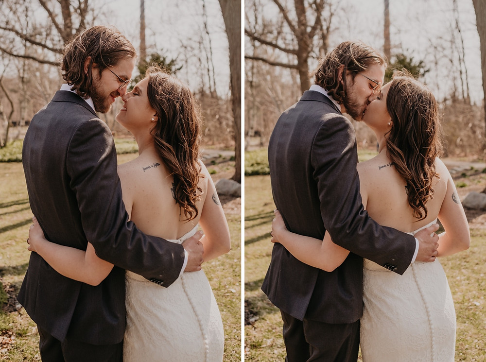 Spring wedding portraits with bride and groom in Metro Detroit.