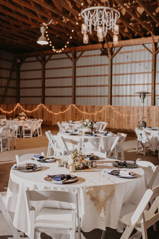 Michigan barn wedding table set up and decor
