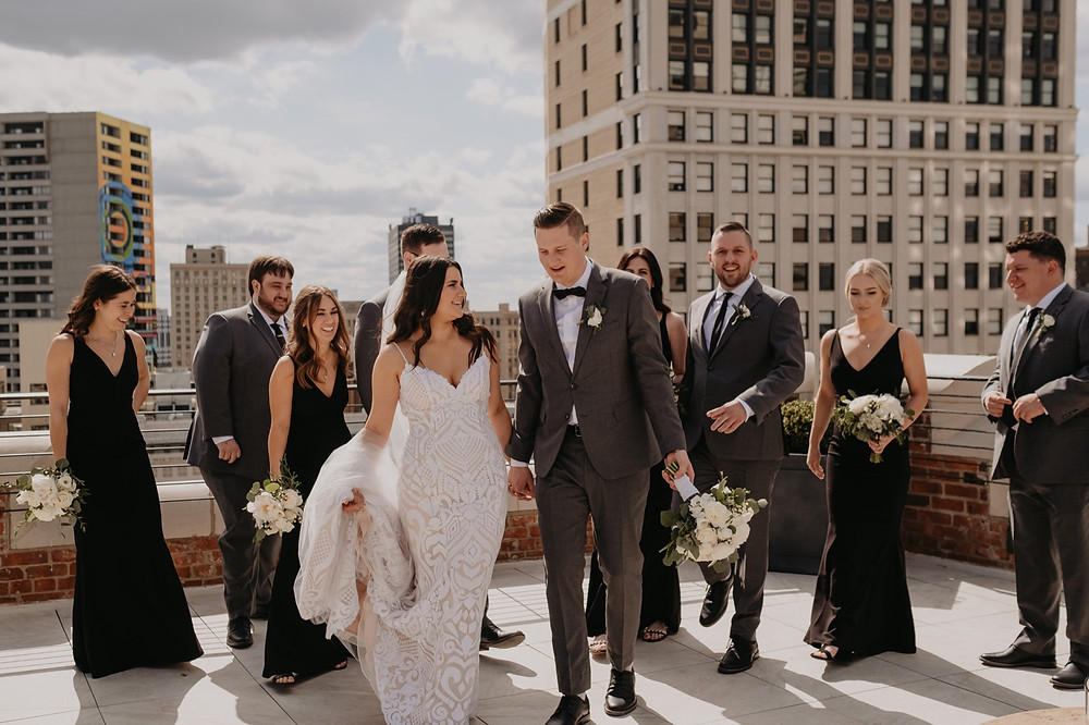 Wedding party on the rooftop at the Monarch Club.Photographed by Nicole Leanne Photography.