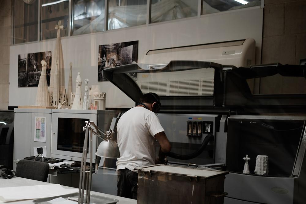 engineer constructing moulds, Sagrada Familia