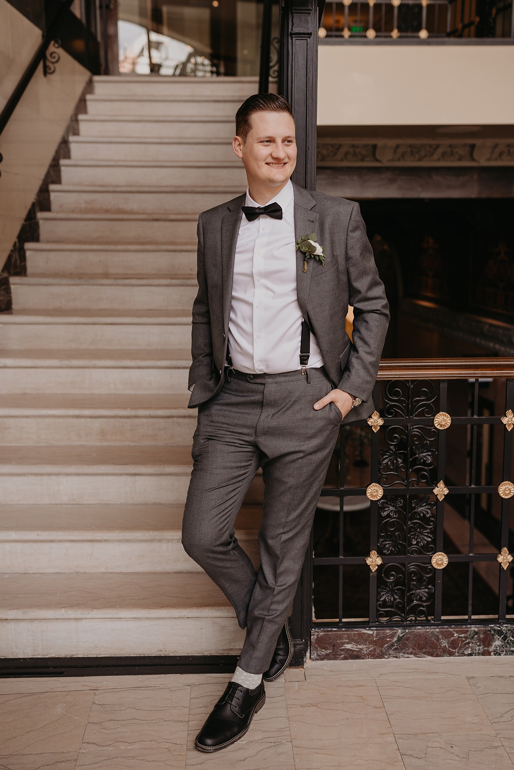 Portrait of groom in Detroit Michigan. Photographed by Nicole Leanne Photography.