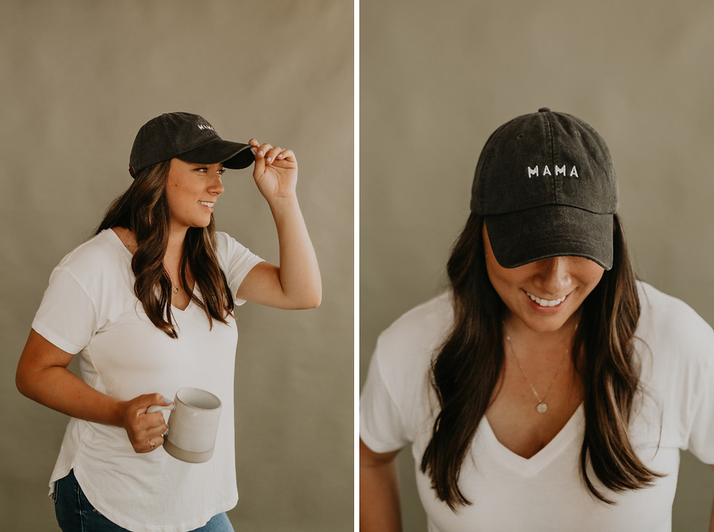 Mama baseball hat during brand photoshoot with KJK Photographs. Photographed by Nicole Leanne Photography