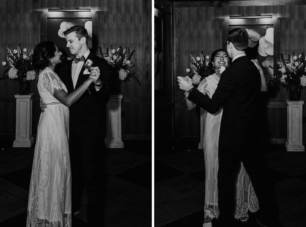 Couple sharing first married dance together. Photographed by Nicole Leanne Photography.