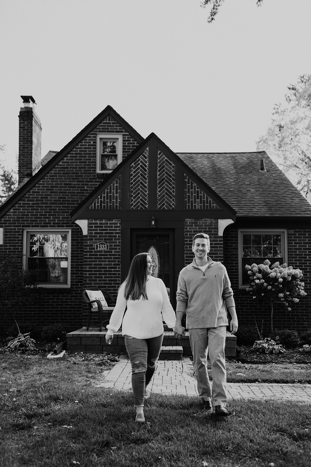 Grosse Pointe engagement photos at home. Photographed by Nicole Leanne Photography.