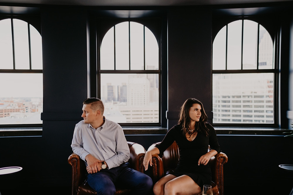 Engagement session at The Monarch Club Detroit. Photographed by Nicole Leanne Photography.