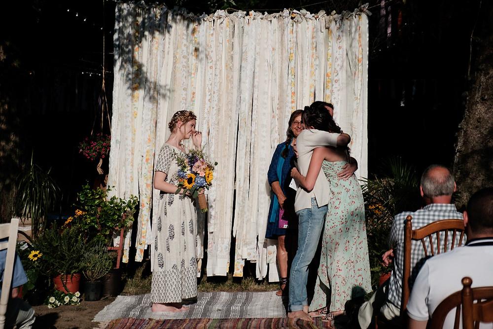 sister speech, outdoor wedding ceremony