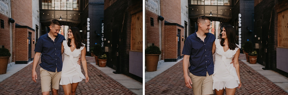 Shinola Alley in Detroit engagement photo with couple. Photographed by Nicole Leanne Photography.