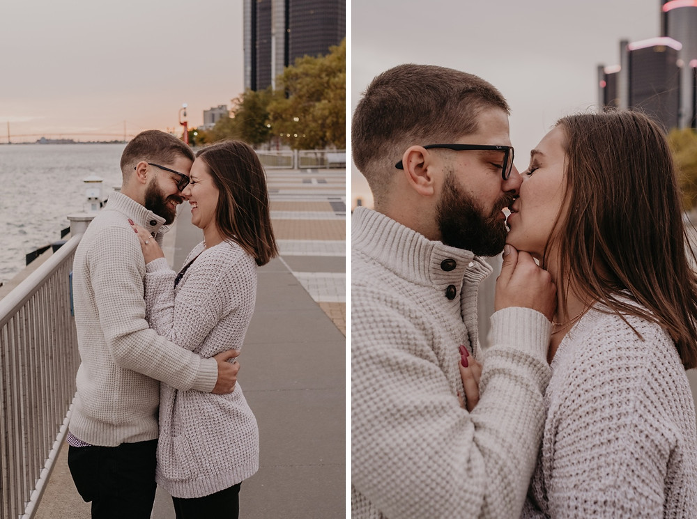 Downtown Detroit skyline engagement photo session. Photography by Nicole Leanne Photography