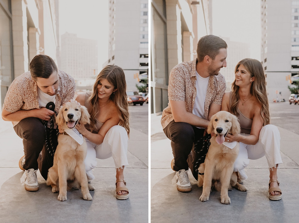 Engagement session at sunset with dog in Downtown Detroit. Photographed by Nicole Leanne Photography.
