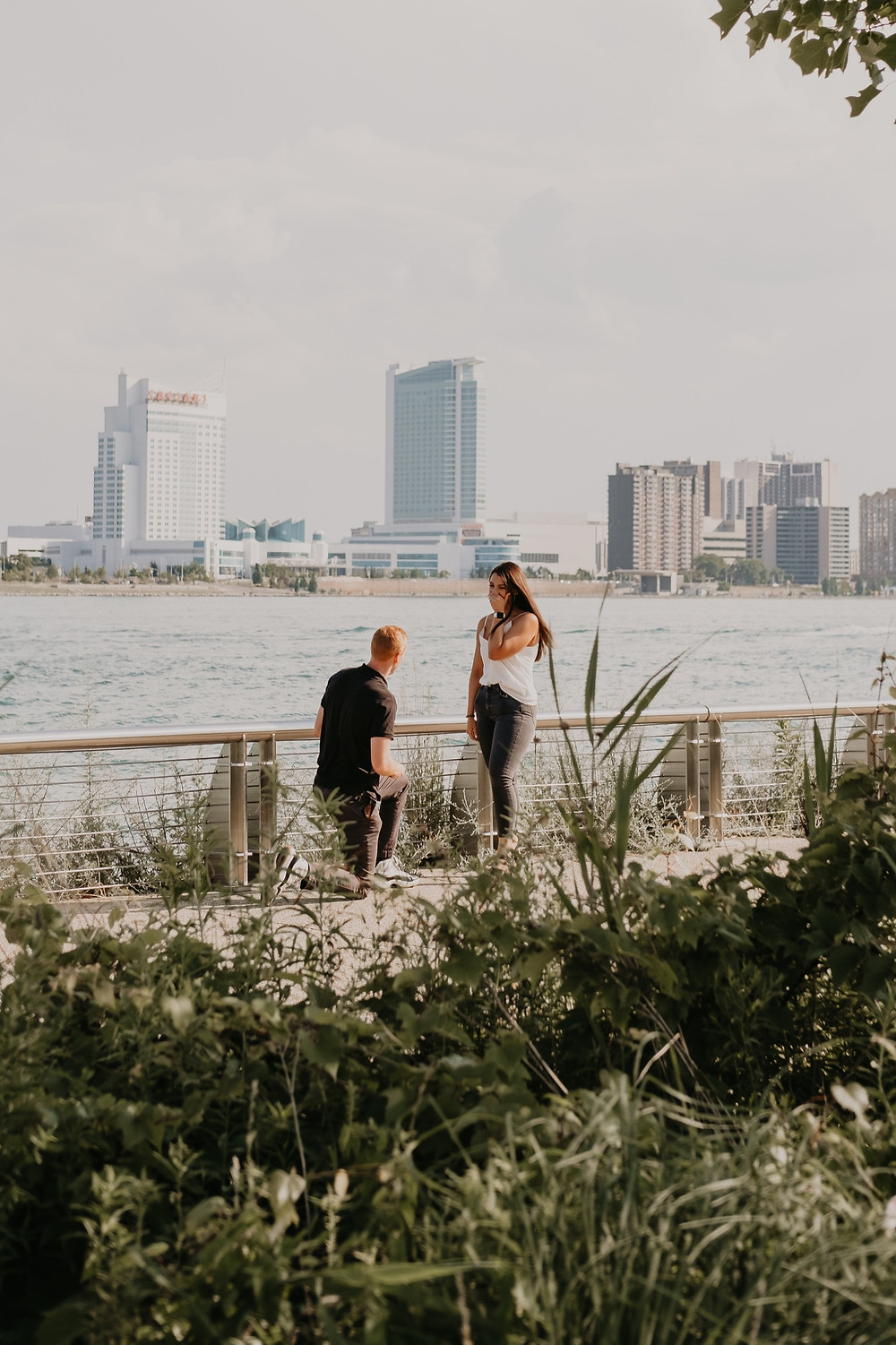 Proposal photos at Detroit Riverwalk. Photography by Nicole Leanne Photography