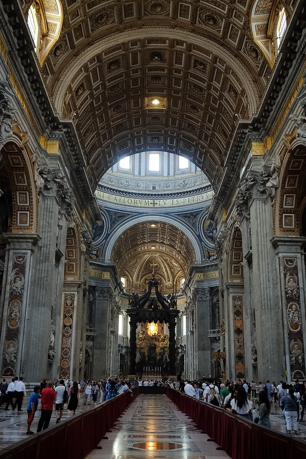 inside Saint Peter's Basilica, long aisle