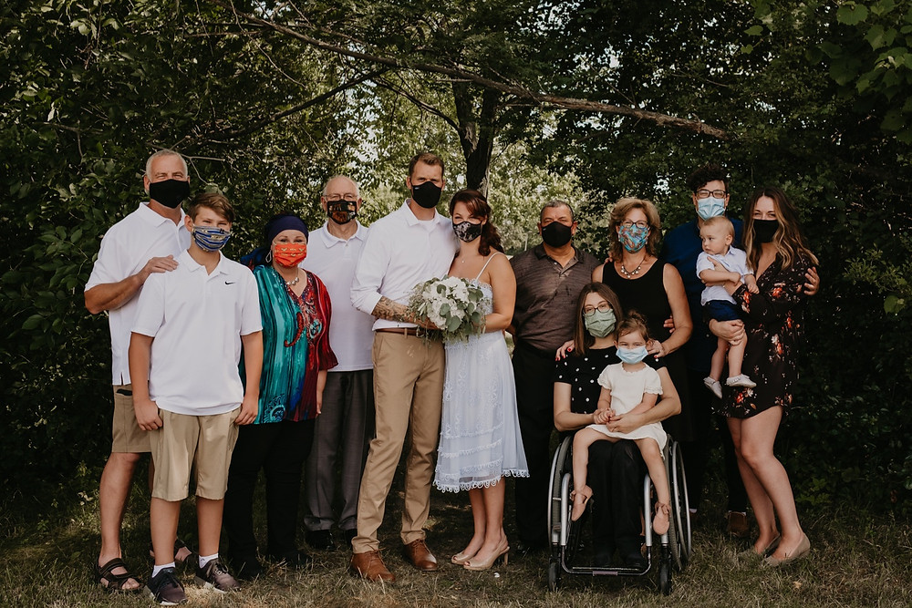 Park wedding wearing masks during COVID-19 pandemic in 2020. Photographed by Nicole Leanne Photography.
