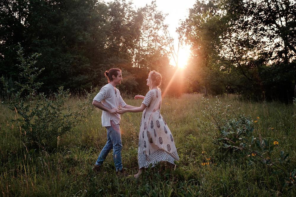 dancing in the grass, golden hour