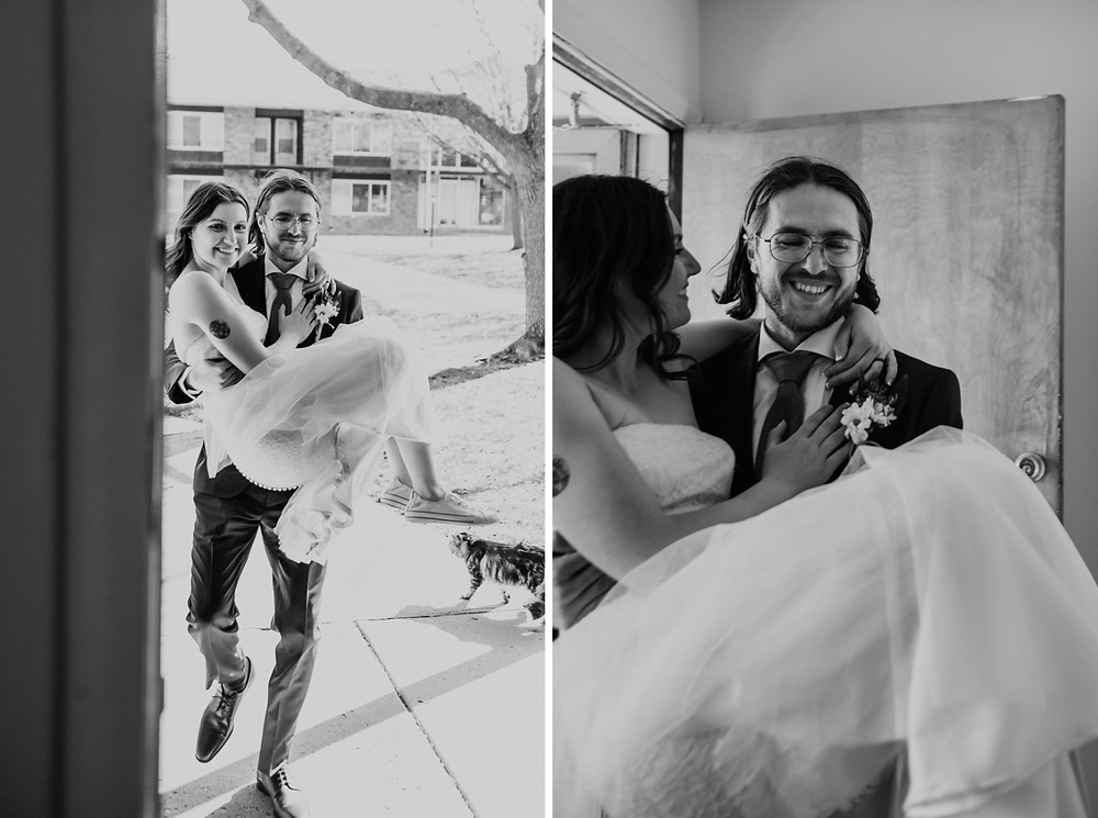 Carrying bride over the threshold after Metro Detroit wedding.