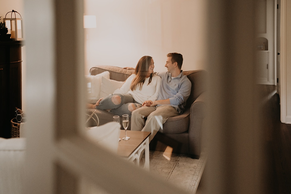 Home engagement photos in Grosse Pointe, Michigan. Photographed by Nicole Leanne Photography.