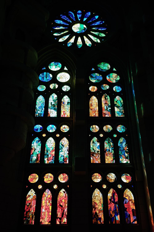 inside Sagrada Familia, stained glass
