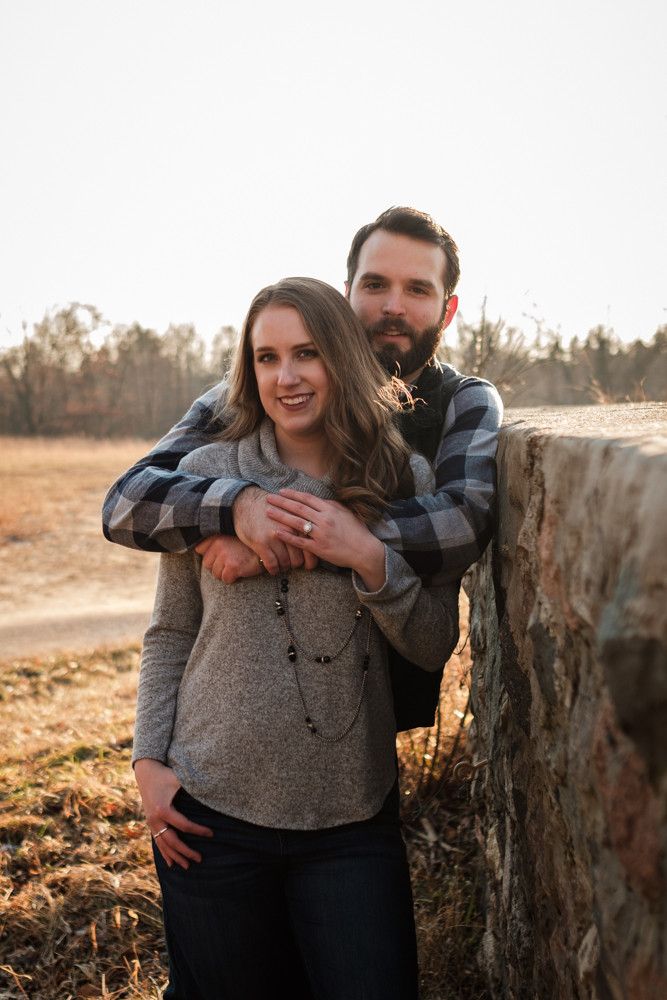 stone wall engagement photograph