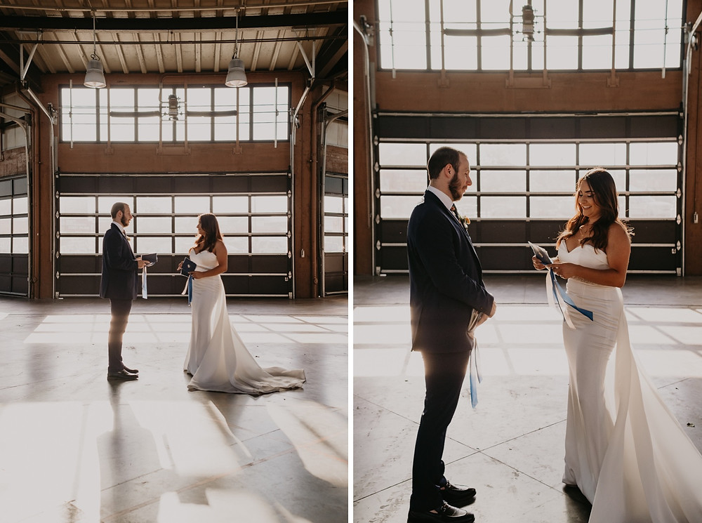 Bride and groom exchanging vows at Eastern Market in Detroit, Michigan. Photographed by Nicole Leanne Photography.