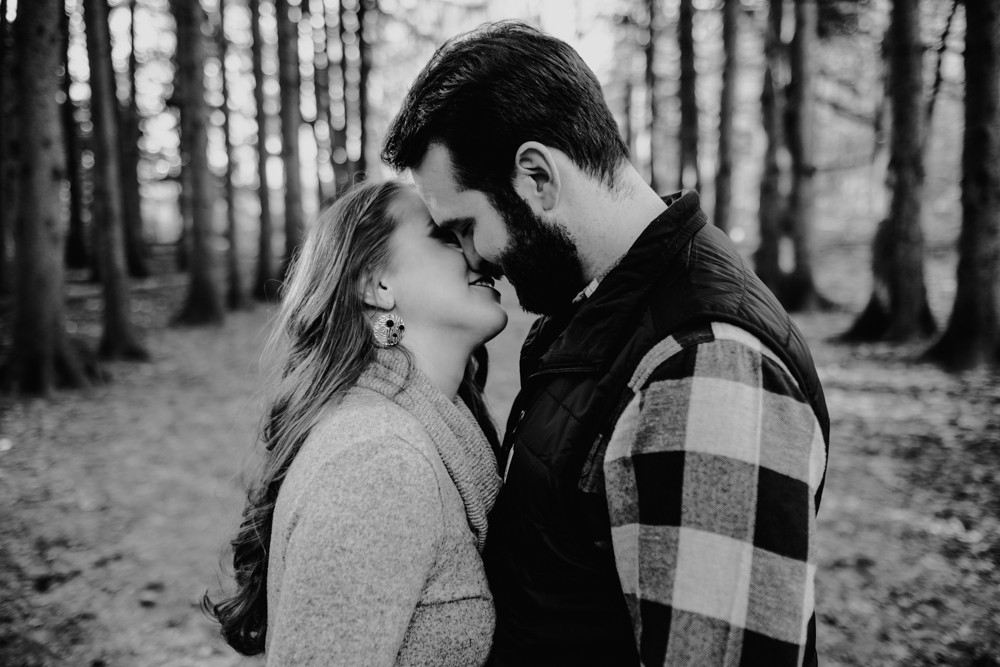 almost kissing engagement photograph