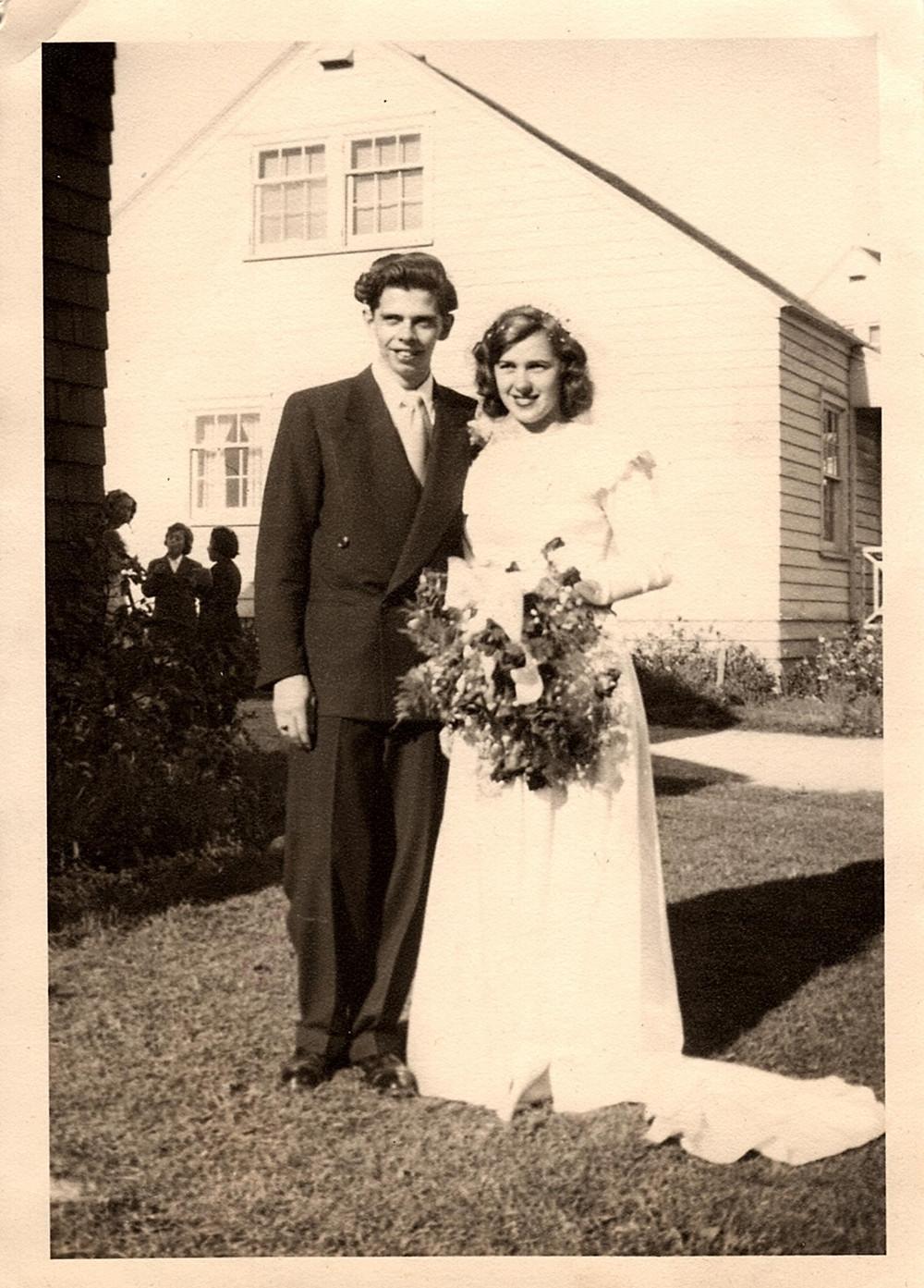 antique wedding photograph, outside
