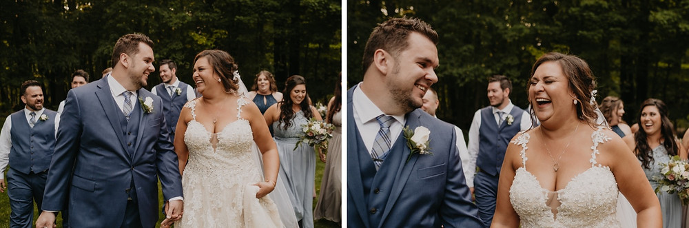 Candids of bride and groom laughing on wedding day. Photographed by Nicole Leanne Photography.