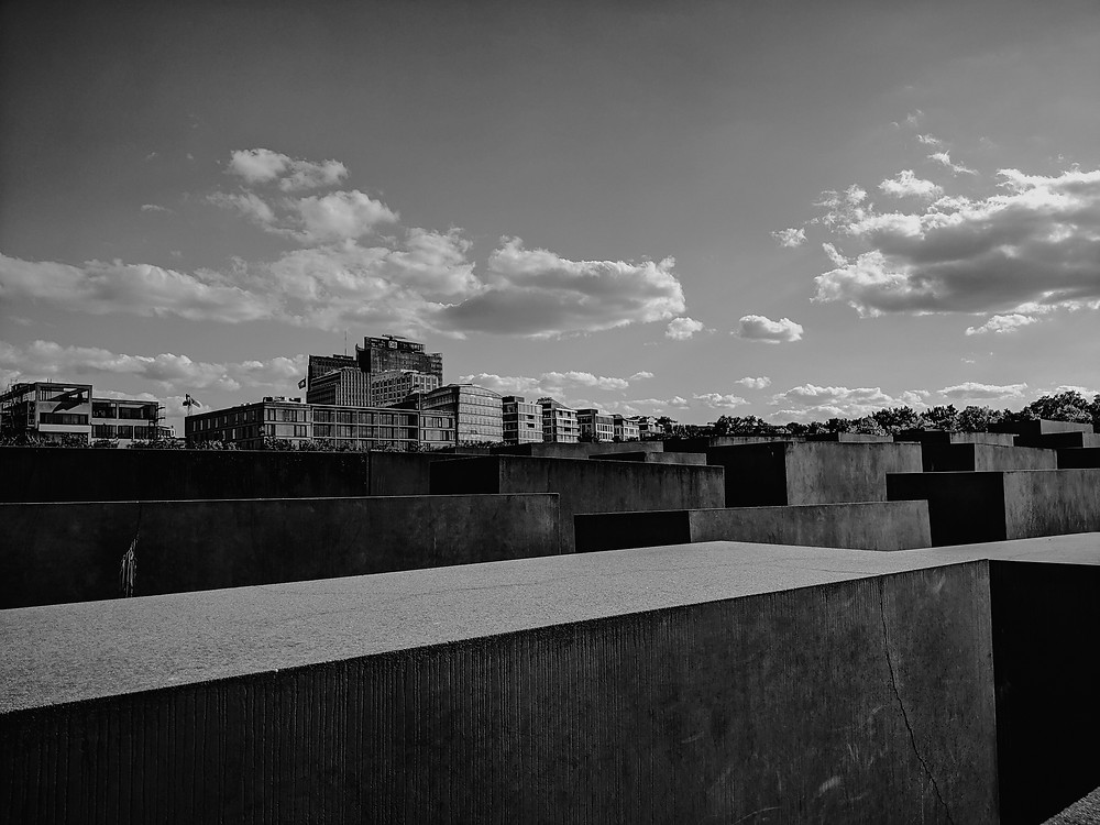 Berlin skyline in black and white. Photographed by Nicole Leanne Photography.