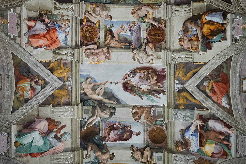 Sistine chapel, God reachs toward David, worms eye view