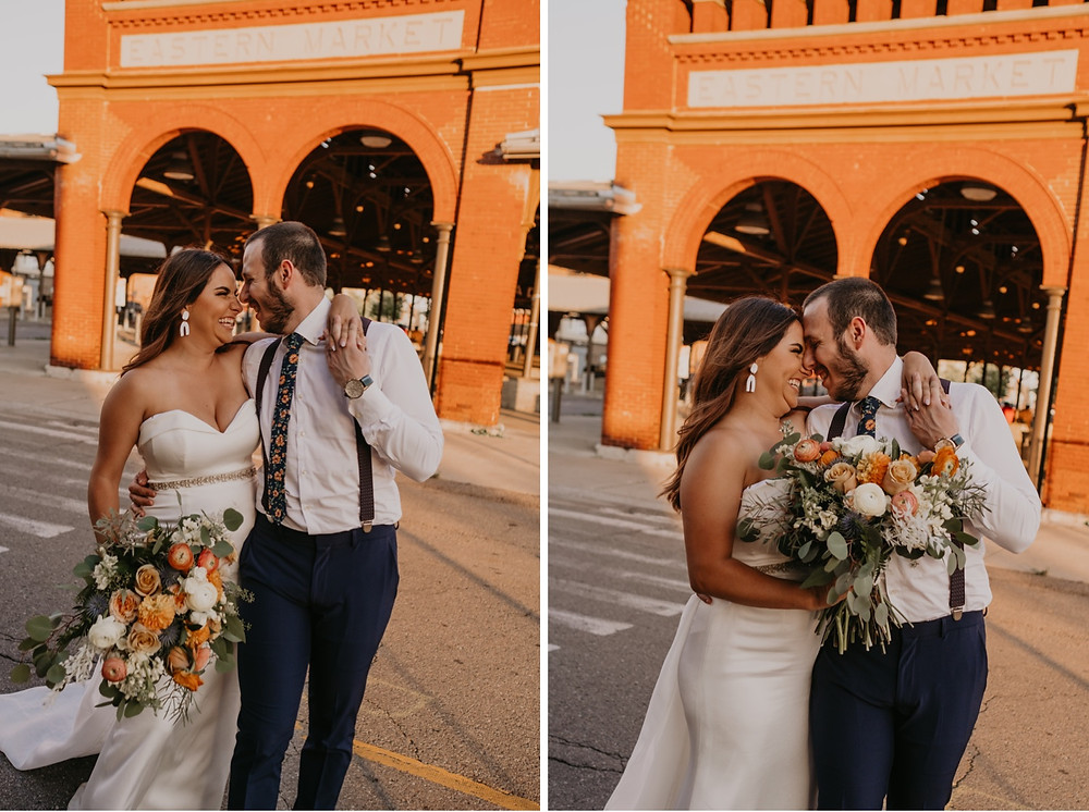 Bride and groom with flowers outside Eastern Market Detroit. Photographed by Nicole Leanne Photography.