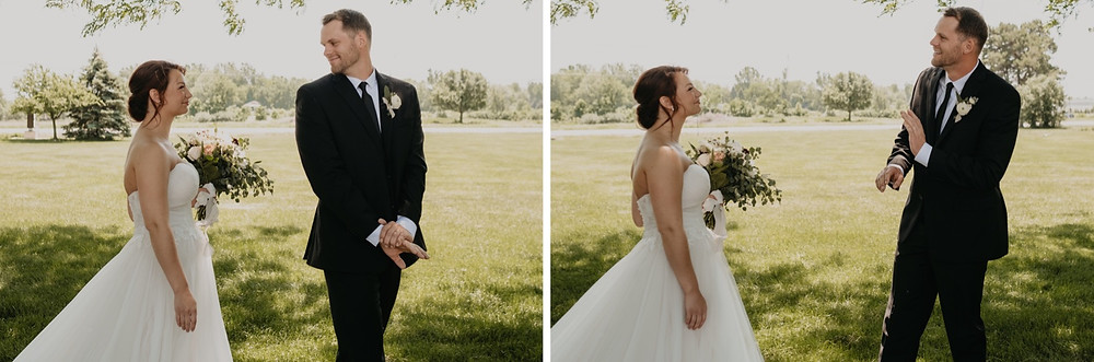 Groom seeing bride for first time on wedding day. Photographed by Nicole Leanne Photography.