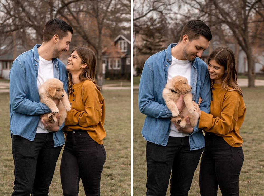Couple with puppy after wedding proposal. Photographed by Nicole Leanne Photography
