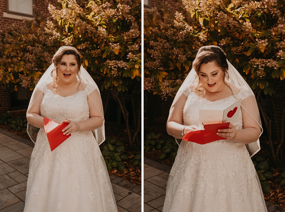 Bride reading card from groom before wedding ceremony. Photographed by Nicole Leanne Photography.