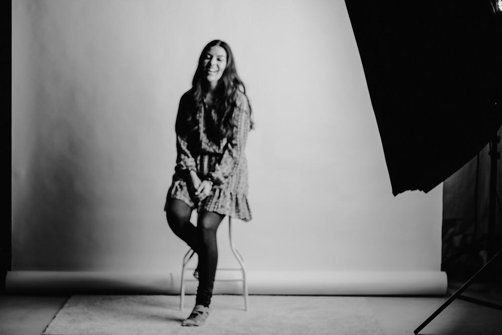 in studio, black and white, blurry