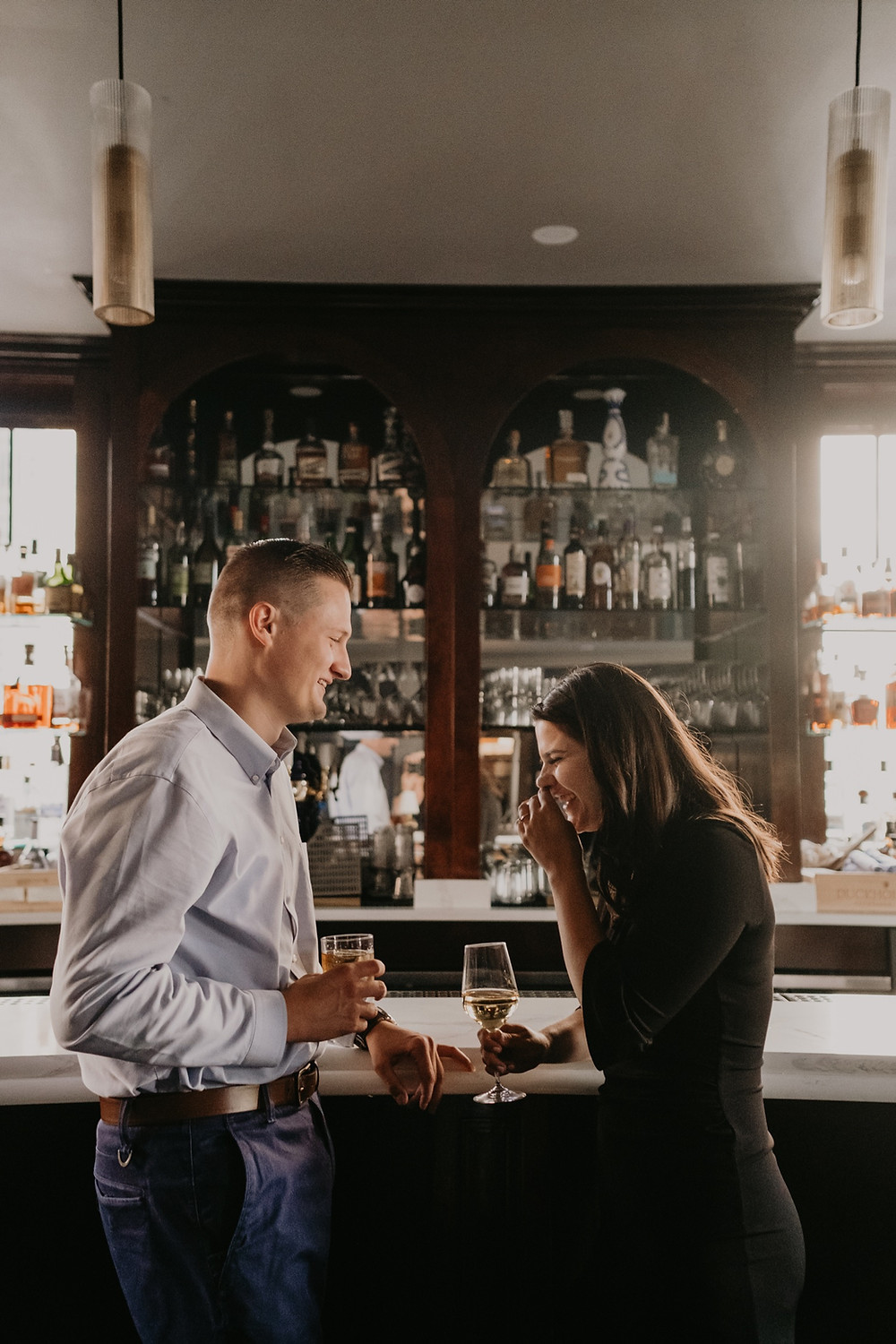 Engagement photos at The Monarch Club in Detroit. Photographed by Nicole Leanne Photography.
