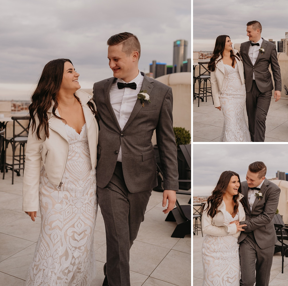 Bride and groom wedding day photos in Downtown Detroit. Photographed by Nicole Leanne Photography.