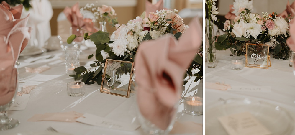 Table numbers and place settings for Spring wedding. Photographed by Nicole Leanne Photography.